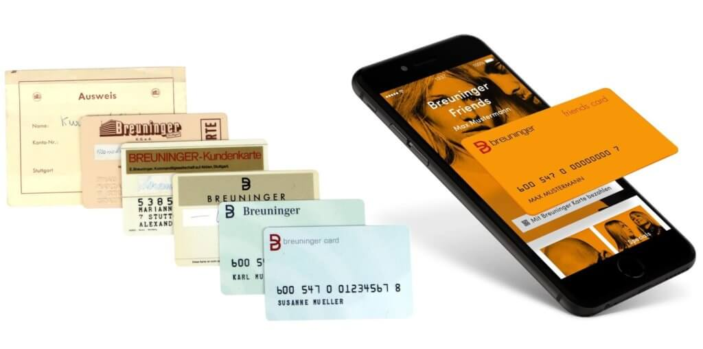 Evolution of Breuninger Membership Rewards Program with different cards and App on Smartphone; Source: Breuninger; WikiCommons
