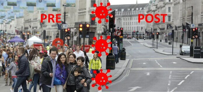 Crowded and empty Regent Street London
