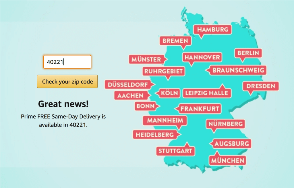 same-day delivery cities Amazon.de