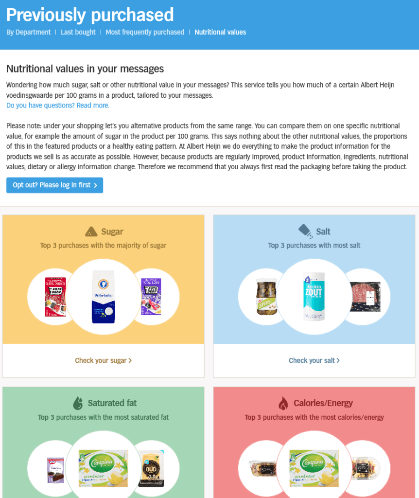 Nutritional value proposals based on previous purchases; omnichannel best practice