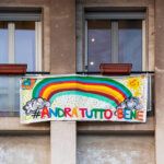 Andra tutto bene rainbow banner in Italy